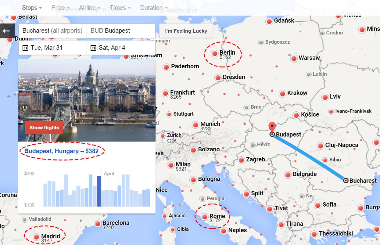 Google Flights ajuta la noroc prin zboruri ieftine